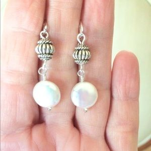 Pearl, silver lever back earrings